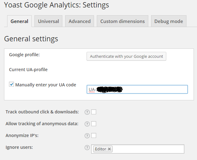 Yoast google analytics