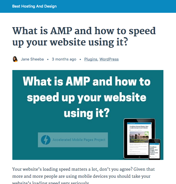AMP version of a web page