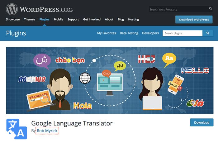 Google language translator plugin