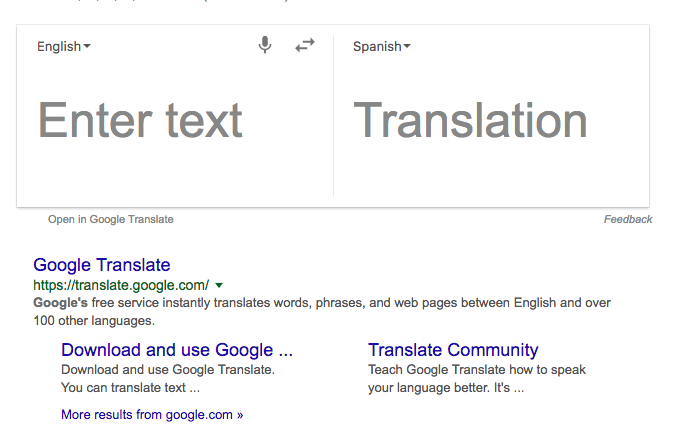 Google translate in Google search