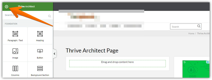 Thrive Architect settings icon