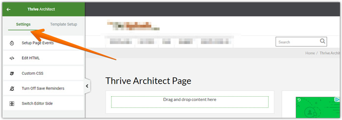 Thrive Architect settings