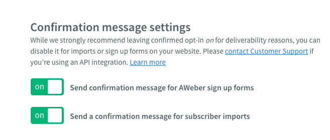 Aweber confirmation message settings
