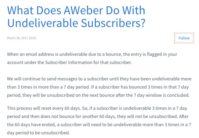 Aweber undeliverable subscribers