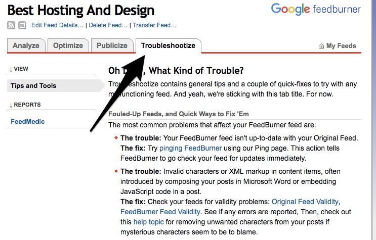Feedburner troubleshootize