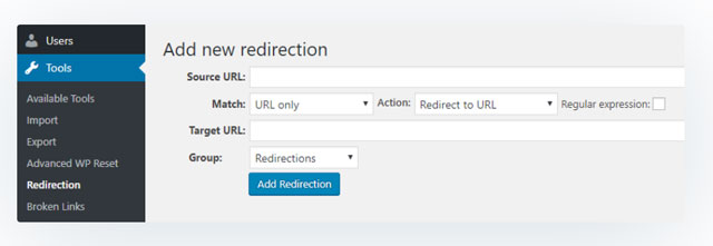 Redirection plugin add new redirection
