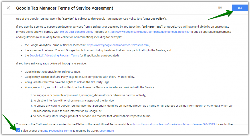 Google tag manager terms and conditions accept