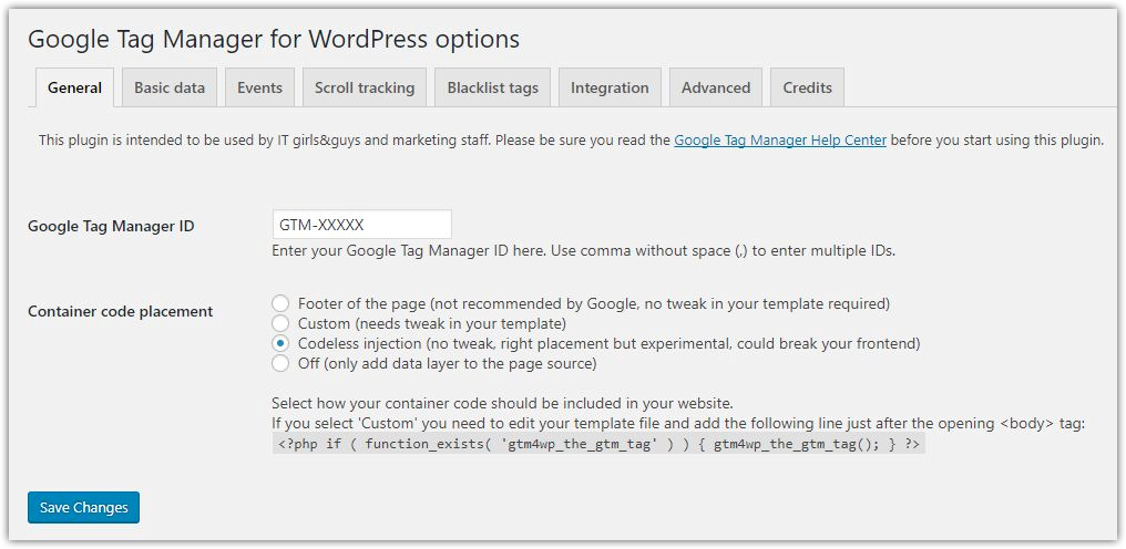 google tag manager for wordpress accounts
