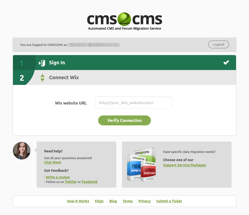 CMS2CMS Automated WiX To WordPress Migration Plugin Verify Connection