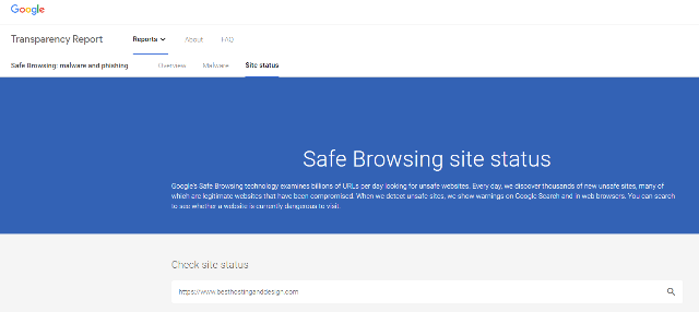 Google's analytics tool for safe browsing
