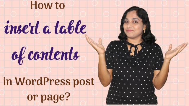 How to create table of contents in WordPress post or page?